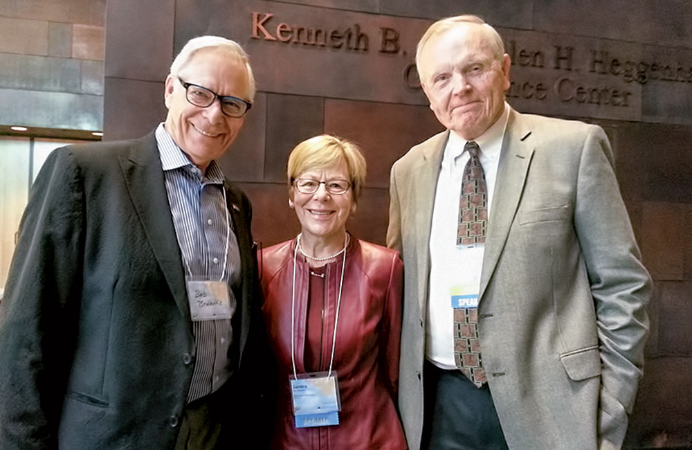 Professor Sandra Christenson, center, with former president Robert Bruininks, left, who helped to write the first grant that resulted in Check & Connect, and Institute on Community Integration professor and director David Johnson at the 25th anniversary conference in October.
