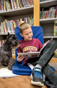 A student reads to Fury, the literacy dog.