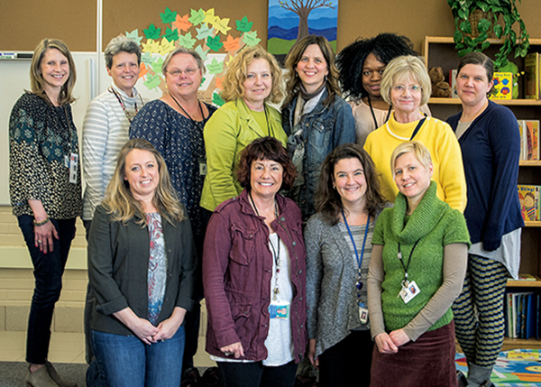 LeAnne Johnson, front row left, with Monica Potter and the Robbinsdale team.