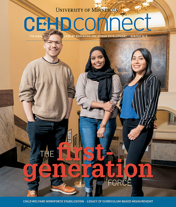 The cover of the winter 2018 issue of Connect magazine, featuring three first-generation college students