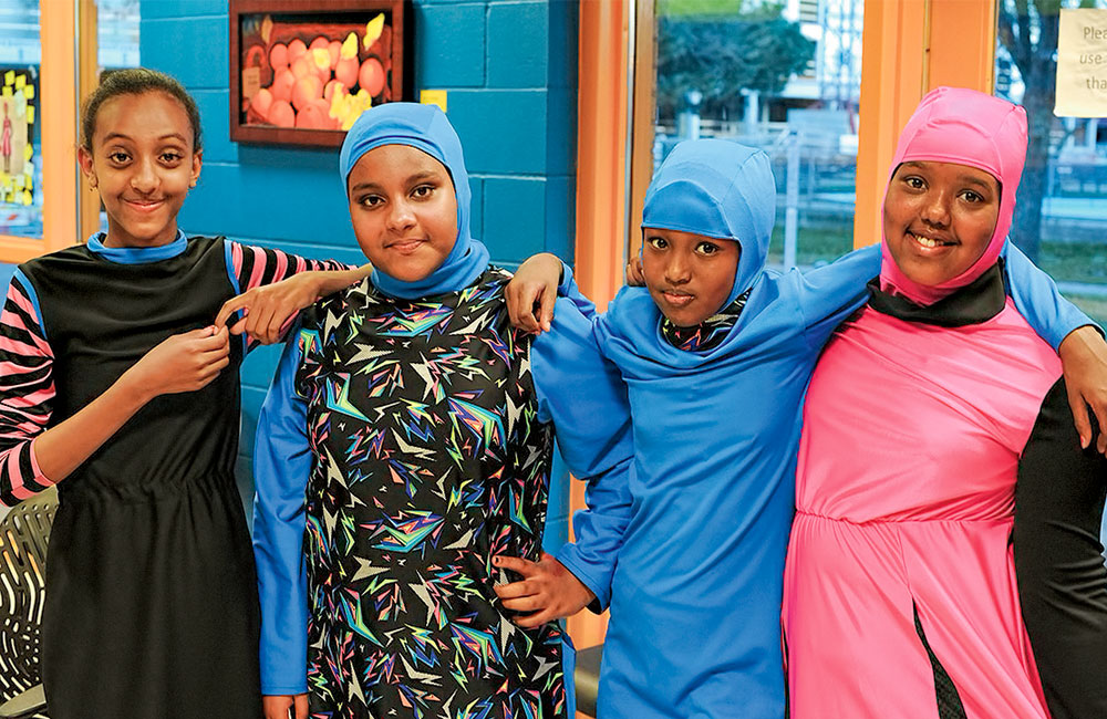 Active wear for four East African girls.