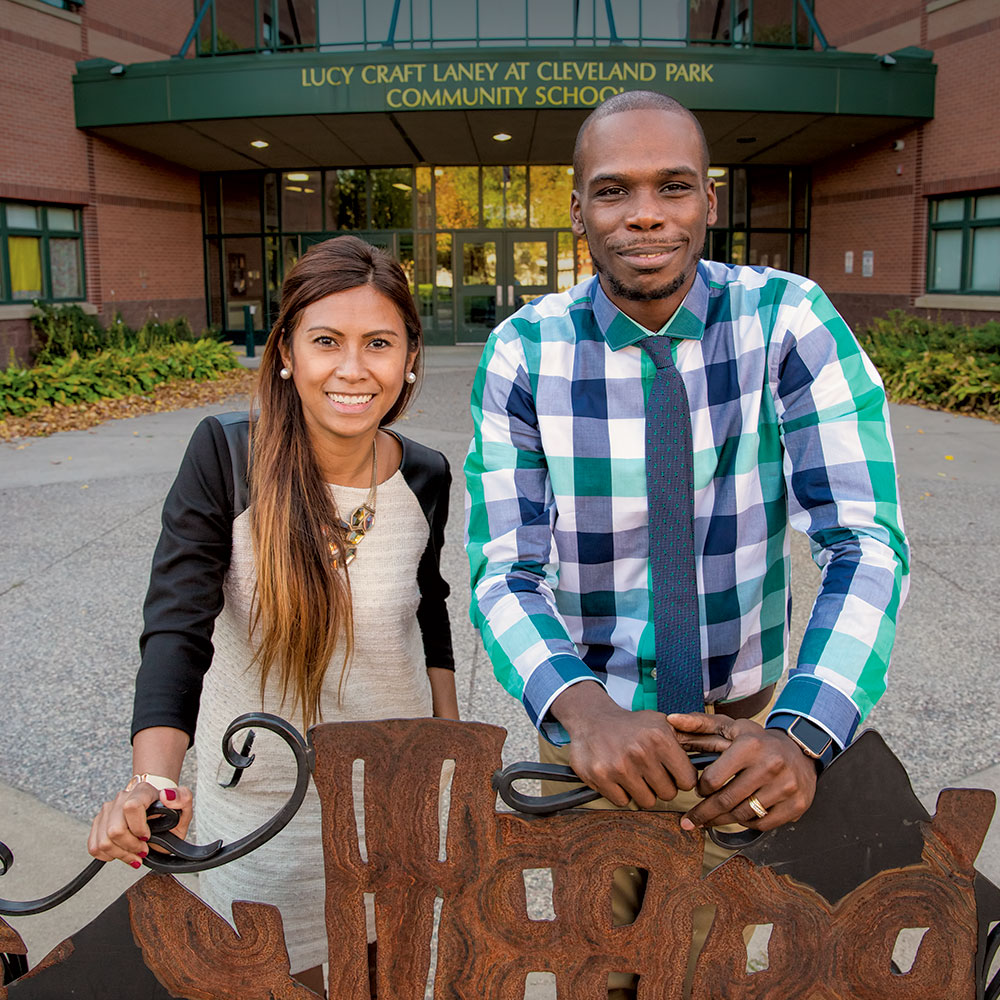 The new Minneapolis Residency Program is one of CEHD's multiple pathways to teaching. MRP resident Edward Davis and co-teacher Hafizah Jaafar, M.Ed. '13, teach second-graders at Lucy Craft Laney Community School in Minneapolis.