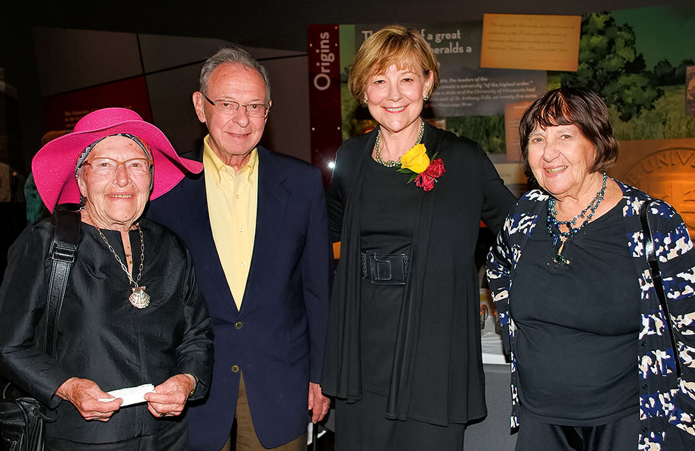 Outstanding Alumni Award winner Jane Sherburne, second from right, with Arvonne and Don Fraser, left, and Esther Wattenberg