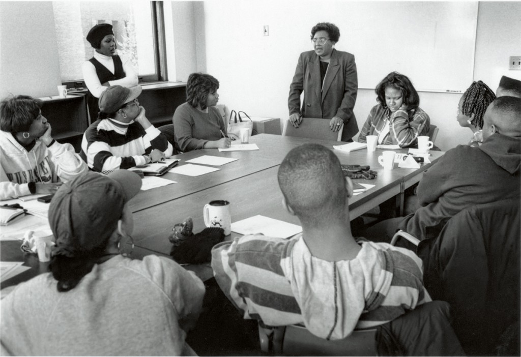 Essie Johnson, diversity coordinator for the Apple Valley/Eagan/Rosemount school district, at a 1995 meeting of the CGC.