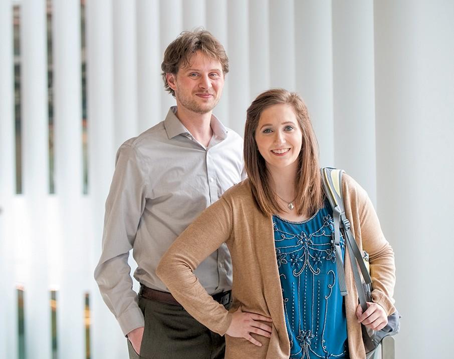 Josh Oxborough, M.Ed. student, initial licensure program, and Kelsie Meyer, senior, English as a second language program