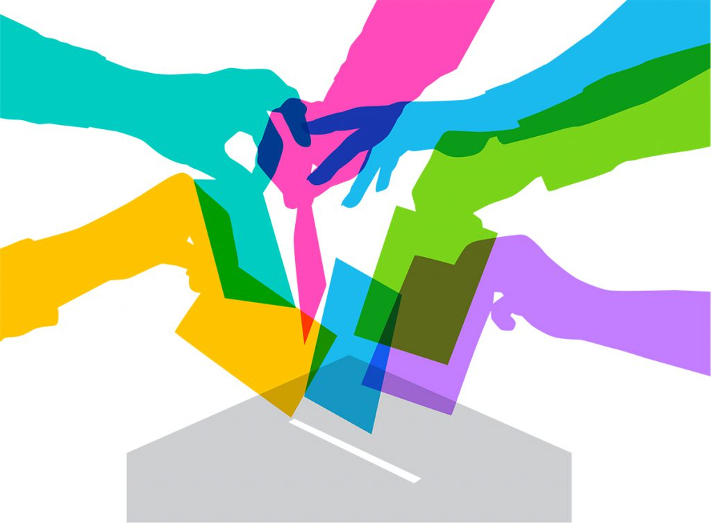 Graphic of hands placing ballots in box