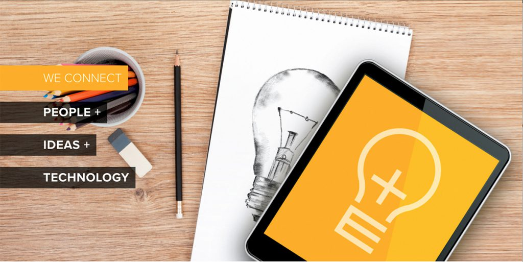 Graphic showing ipad with a light bulb