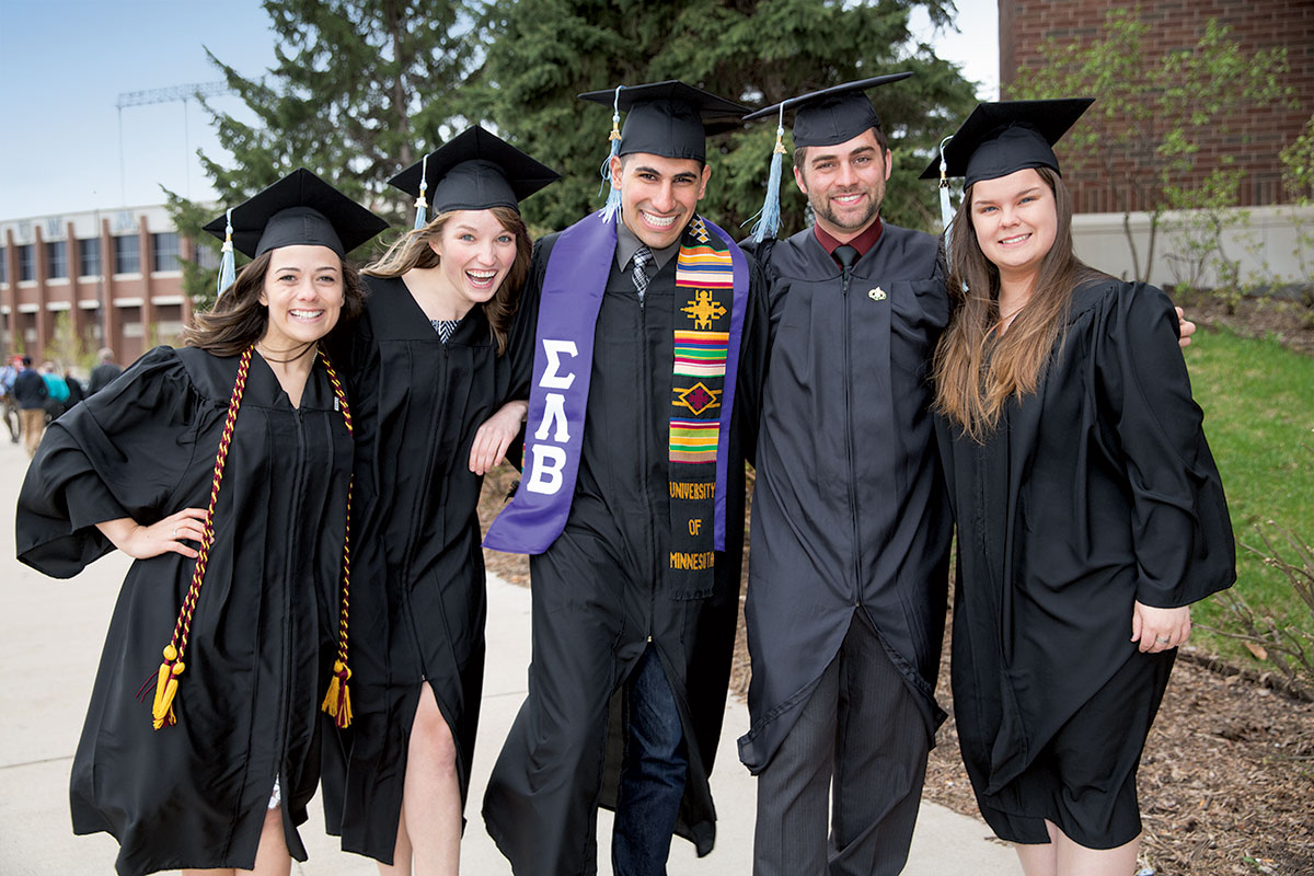 CEHD undergraduates celebrating at commencement
