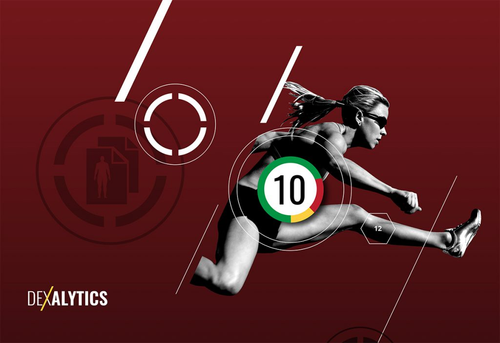 Artwork from Dexalytics advertising material featuring a woman jumping a hurdle against a red background.