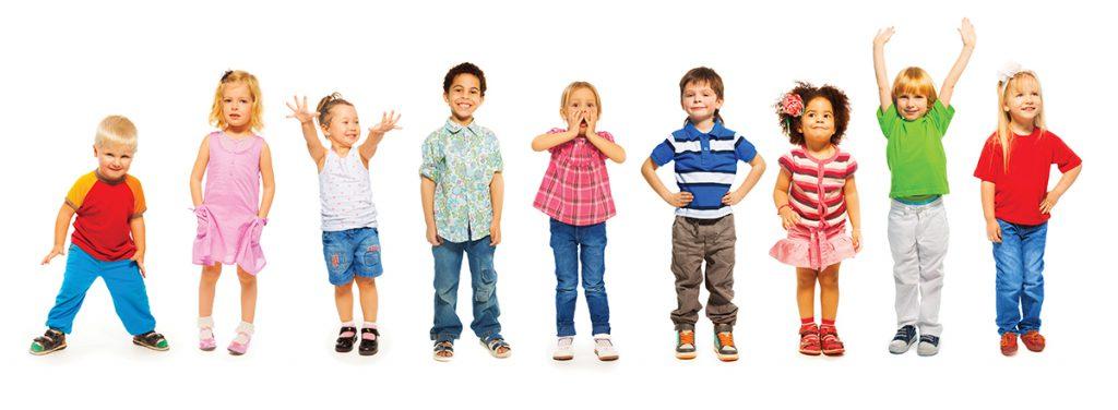 little preschool children isolated on white standing