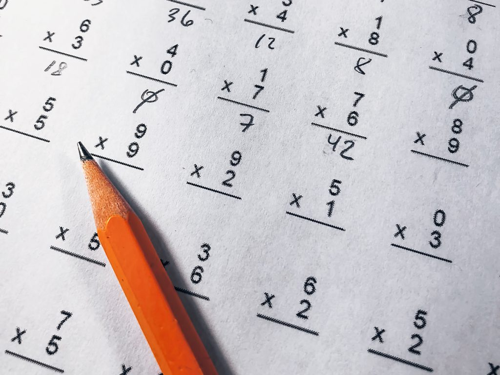 Multiplication worksheet with a pencil