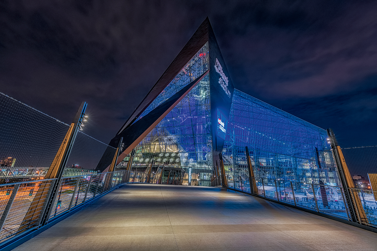 U.S. Bank Stadium lights up at night in Minneapolis