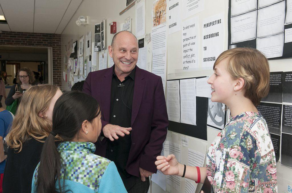 Jon Scieszka talking with students