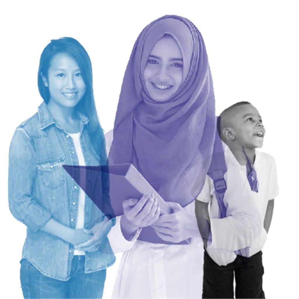 Graphic of three children smiling