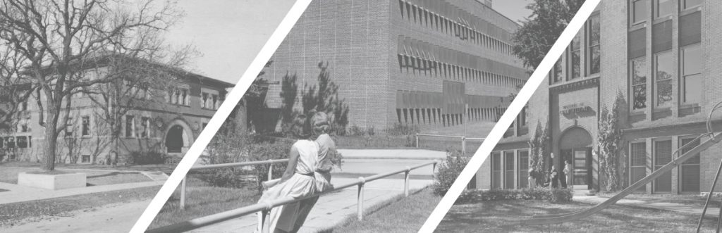 Black and white photo of Pattee Hall, Peik Hall and The Institute of Child Welfare