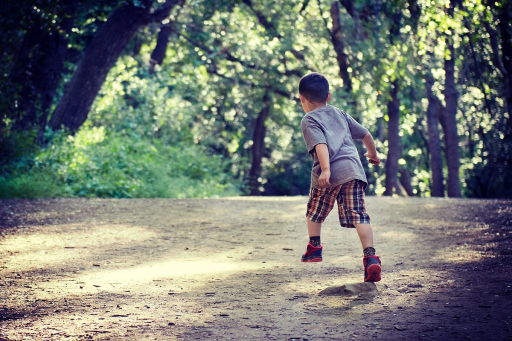 A child running outside