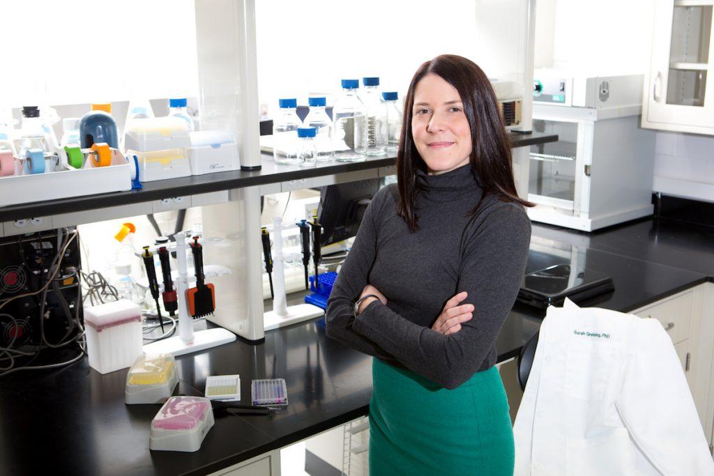 Sarah Greising in her lab