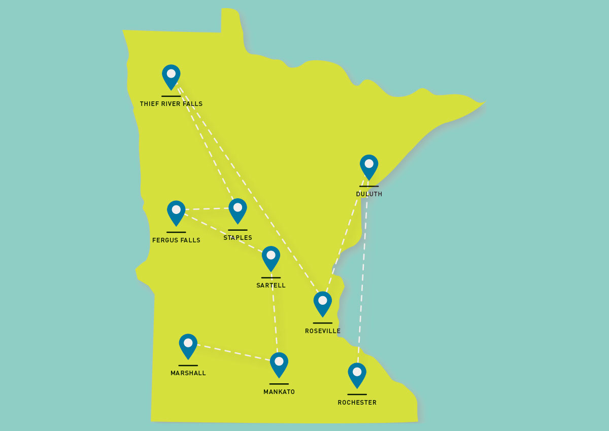 Map of Minnesota with 9 tour sites marked