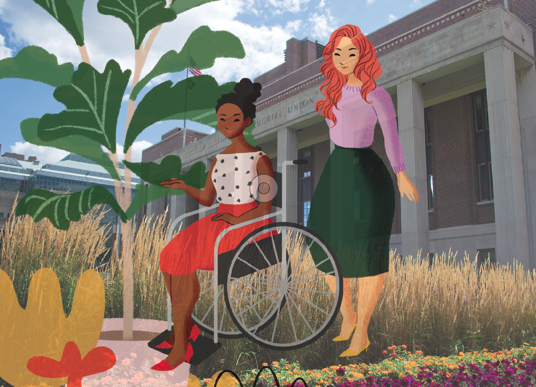 Graphic of two people looking at a plant, one in a wheel chair
