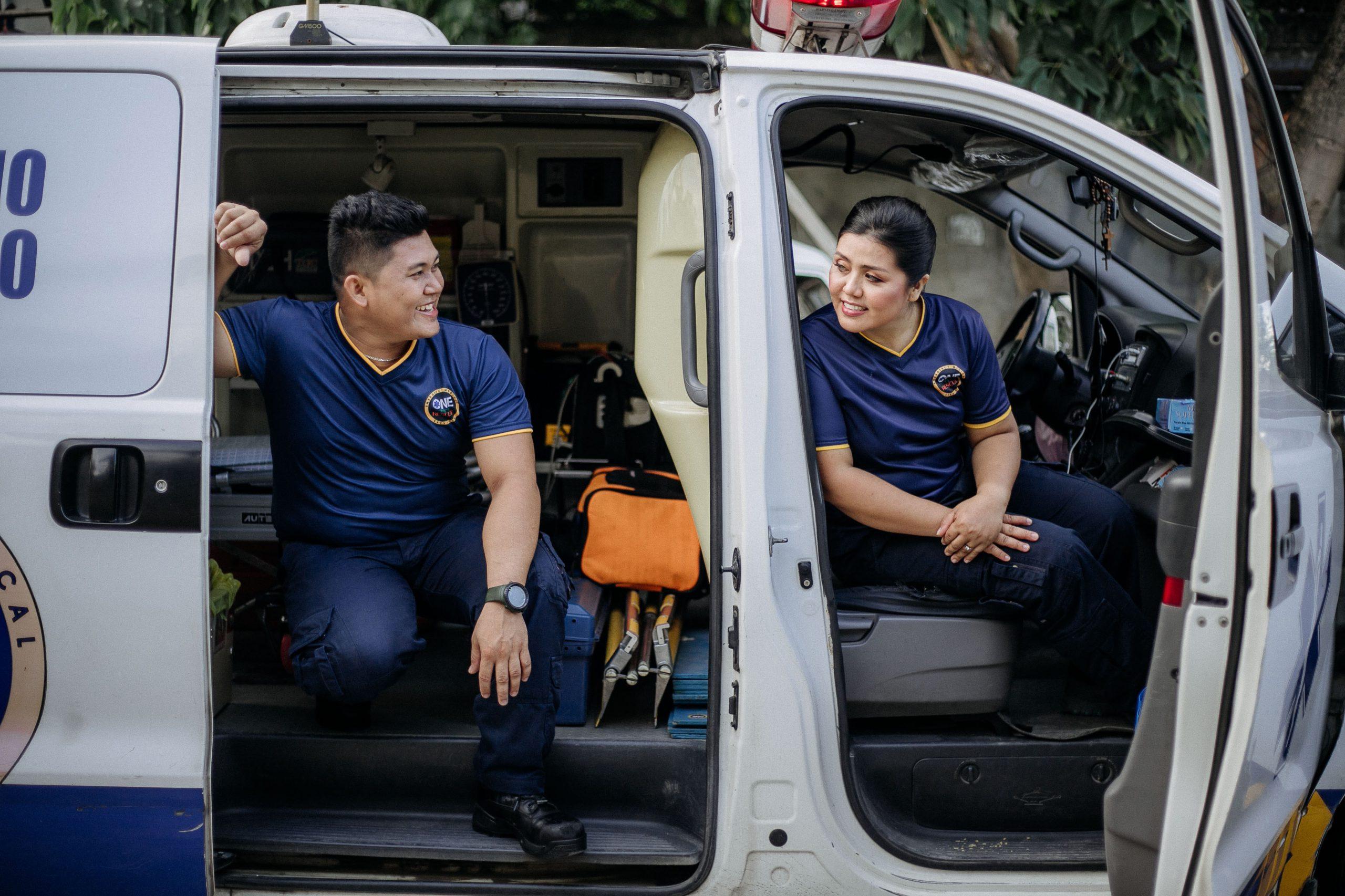 First responders in a van