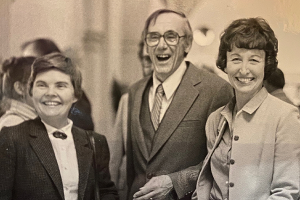 Dean William Gardner with Professor Sunny Hanson and one other person